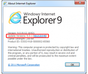 Updateul IE 9.01 cu remedieri de securitate