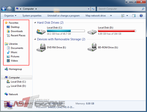 Cum sa eliminati Libraries & Favorites din Windows Explorer in windows 7